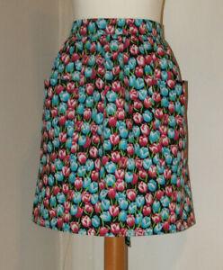 New 'Black / Tulips ' Vintage Style Half / Waist Apron/Pinny 100% Cotton