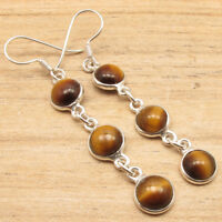 925 Silver Plated Real TIGER'S EYE & Other Gems Variation Multistone Earrings