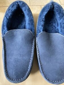 OLIVER SWEENEY Men's Navy Blue Teigngrace Suede Sheepskin Slippers UK9