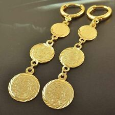Fashion 14K Yellow Gold Plated  3-Coin Round long Clip On drop Dangle Earrings