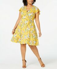 LOVE SQUARED 2X Womens Plus Size Floral Faux Wrap Dress, V Neck, Ruffle Sleeves