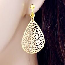 "#E122L Pair non-pierced CLIP ON Filigree Leaf Teardrop Earrings 1.7"" Gold Plated"