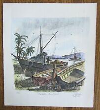"Ted Wade ""Backbay Boatyards"" Lithograph Limited Ed. Print 1981 San Diego Bay"