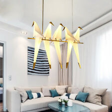 Creative Gold Linear LED Hanging Pendant Lights with 5 White PVC Birds Shade Art