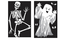Large Halloween Window Decorations / Posters Ghost Skeleton Vampire Party