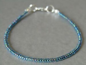 Aqua Rainbow AB Seed Bead Slim Freindship Stacker Bracelet or Anklet - Summer!