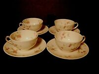 Theodore Haviland New York Touraine Cups & Saucers Pink Flowers--Lot of 4!!