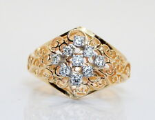 GORGEOUS 14K Yellow Gold 1/3 + TCW Diamond Cluster Ring Size 6.25
