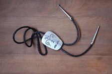 1970s Florenta of California Pewter Bolo Tie Braided Leather Cord