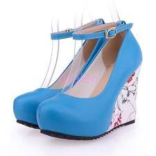 Womens Lady Wedges Floral Faux Leather Buckle Platform Ankle Strap Shoes Plus SZ