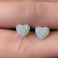 1.50 Ct Round Cut Diamond Heart Shape Cluster Stud Earrings 14K White Gold Over