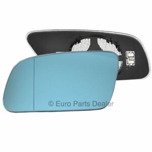 Left side mirror glass with clip for AUDI A6 99-04 Blue Heated Aspherical