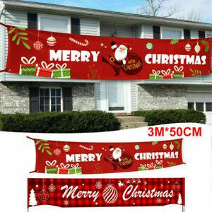 Merry Christmas Outdoor Banner Santa Claus Xmas Decoration Home Garden Decor UK