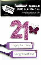 Pink 21st Birthday DIY Greeting Card Toppers Personalise Handmade Cards Yourself