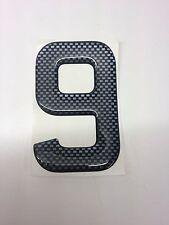 3D Gel Domed Digit Domed DIY Registration Reg Number Plate CARBON Letter 9