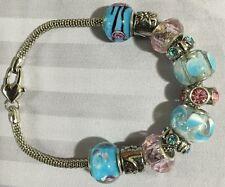 "7"" - Blue/Pink Charm Bracelet/Beaded Silver-"