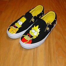 Vans Simpson Canvas Shoes Size 7M/8.5W Black Slip Ons Bart Lisa