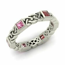 Certified Princess Garnet & Tourmaline Celtic Knot Wedding Ring 14k White Gold