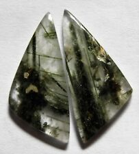 22.55 Ct Natural Green Rutilated Quartz(31mm X 14mm each)Cabochon Match Pair