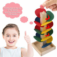 Wooden Tree Marble Run Track Games Preschool Children Kids Educational Toys IB
