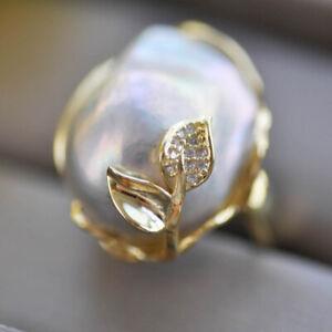 Z10374 22mm Gray Baroque Keshi Pearl Leaf gold-plating CZ Ring