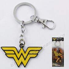 """Super Hero Wonder Woman Logo 11.5cm/4.6"""" Pewter Metal Key Ring Chain NIB"""