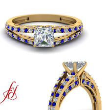 Split Band Blue Sapphire And Diamond Rings With Princess Cut In Center 0.80 Ct