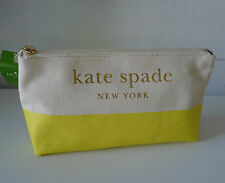 KATE SPADE Yellow LOTT STREET COSMETIC BAG Clutch LEMON Canvas SOLD OUT Gold New