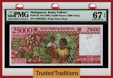 Tt Pk 82 Nd (1998) Madagascar Banky Foiben'I 25000 Francs Pmg 67 Epq Superb Gem!