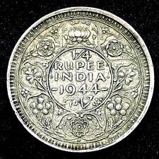 INDIA, BRITISH - 1944 BOMBAY MINT AR 1/4 RUPEE, - GEO. VI, SILVER  COIN KM#547