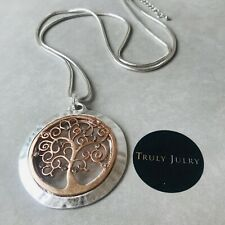UK Ladies Designer Long Silver Rose Gold Circle Tree Pendant Jewellery UK