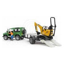 Bruder Toys 02593 Land Rover Defender & Trailer Micro Excavator & Figure 1:16