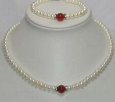 Beautiful natural 7-8mm White Pearl & 10mm Red Jade Necklace Bracelet Set