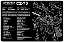 CZ-75  Armorers Gun Cleaning Bench Mat Exploded View Schematic Full Parts List