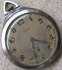 Longines Art Deco Pocket Watch Siver & Gold Case 47,5 mm. in diameter open face