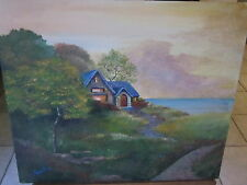 Shelley Capovilla(Sunnyvale CA)Oil Painting of home near water-Nice warm Detail