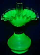 Uranium Custard Glass Miniature Oil Lamp Antique & complete