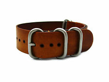 HNS Zulu 24mm Handmade Vintage Washing Style Brown Calf Leather Watch Strap