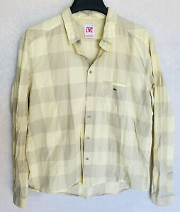 Lacoste Live L!ve Yellow Plaid Lightweight Button Up Shirt Indie Hipster 45 Men
