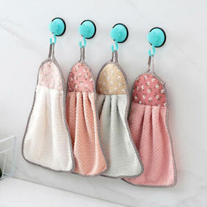 4Pcs Home Kitchen Bathroom Hanging Towel Cleaning Soft Hand Towel Newest Useful