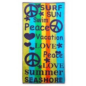 Jacquard 100% Cotton Peace, Love, Swim Vacation Striped Oversized Beach Towel