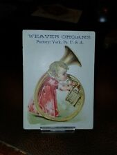 Vintage 1800s York, Pa Weaver Organ Co. Trade Card Baby with Musical Instrument