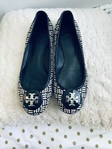 Tory Burch Rafia Straw Flats Shoes  Logo Black & White Size 9.5M