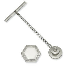 Kelly Waters Rhodium Plated Solid Polished & Engravable Hexagon Tie Tack