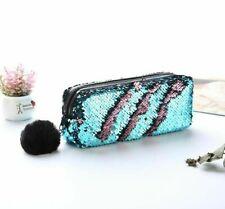 Reversible Sequin Pencil Case Bag Girls School Supplies Kids Magic Pencil Box