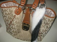 Fur-Mink Tails -Keychain-Black White-Color-Fur-Mink-8-TO-10-Inches-Great Price