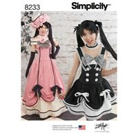 Simplicity Pattern 8233 Misses' Gothic Lolita Cosplay Costumes H5 6-14