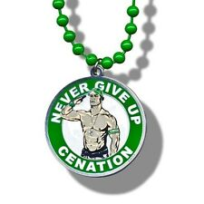 WWE John Cena Never Give Up Pendant Necklace, Wrestling Green Beaded
