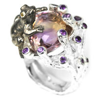 NATURAL AAA BI-COLOR AMETRINE, AMETHYST & CZ STERLING 925 SILVER FROG RING 8.5