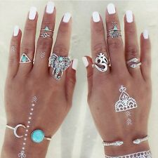 8PCS Fashion Rings Tribal Turquoise Hippie Gothic Elephant Snake Stacking Rings